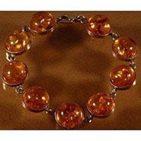 Pierres-Santé - Bracelet Argent sertis de cabochons ronds d'ambre de la Baltique