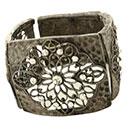 Pierres-Santé Bijoux - Bracelet manchette Femme motifs ajourées et Oxydes de zirconium