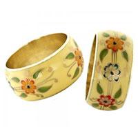 Pierres-Santé Bijoux - Bracelet manchette Femme motif floraux émaillés